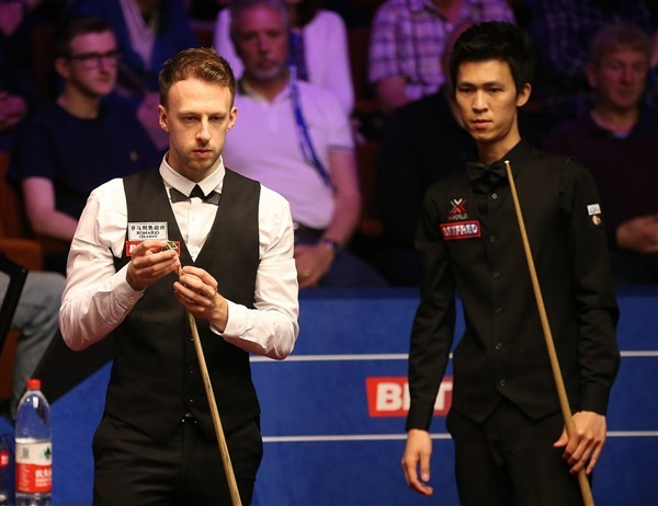 Trump edged out Un-Nooh 10-9 at The Crucible in April (credit: Nigel French/PA Images)