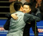 Liang and Ding embrace at The Crucible in 2017 (credit:Rui Vieira/PA Images)